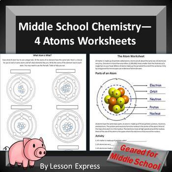 Atom Practice Worksheets (4 w/s) -- Parts of an atom and element identify