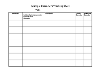 Multiple Characters Graphic Organizer