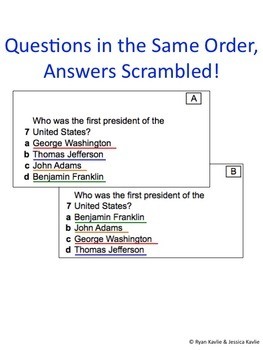 Multiple Choice Answer Scrambler to Create 4 Test Versions for 4 Option Answers