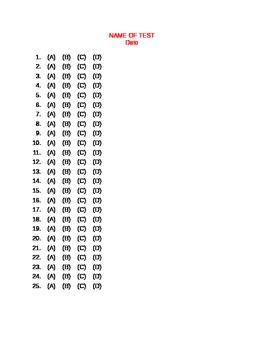 Multiple Choice Answer Sheet:  25 question - (A) (B) (C) (D)