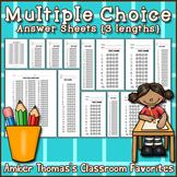 Multiple Choice Answer Sheet Templates {3 lengths}
