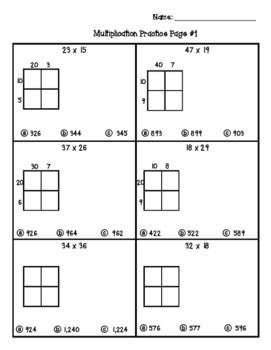 *Multiple Choice Area Models / Partial Product 4.NBT.5 Worksheets