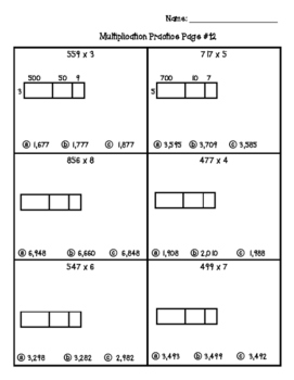 Multiple Choice Area Models / Partial Product 4.NBT.5 Worksheets