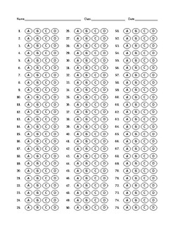 Multiple Choice Bubble Answer Sheet