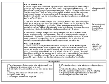 Multiple Choice Expository Worksheet on Text Organization