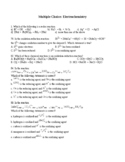 Multiple Choice Grade 12 Chemistry Redox Reactions & Oxidation Numbers