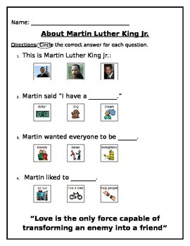 Multiple Choice Martin Luther King Questionaire with pictures