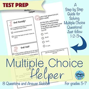 Multiple Choice Math Word Problem Test Prep Helper!  Grades 5-7