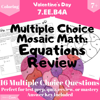 Two-Step Equations Review Valentine's Day Coloring Activity