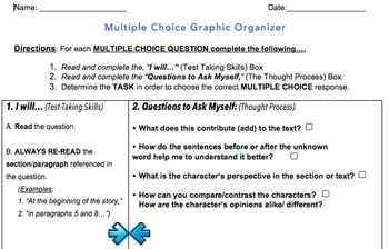 Multiple Choice PARCC Style Graphic Organizer