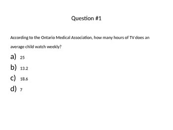 Multiple Choice Parenting Quiz for Gr. 11 Parenting course