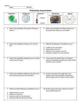 Probability Practice with Experiments. (Free response and Multiple Choice!)