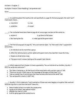 Ayn Rand Anthem Test Worksheets Teaching Resources Tpt