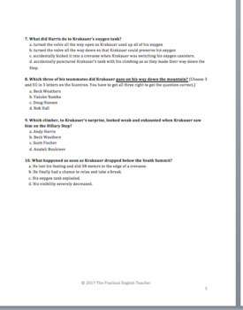 Multiple Choice Quiz for Chapter 1 of Into Thin Air
