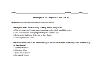 Multiple Choice Quiz for Chapter 5 of Into Thin Air