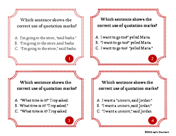 Multiple Choice Quotation Marks Task Cards