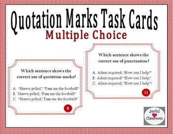 Multiple Choice Quotation Marks Task Cards