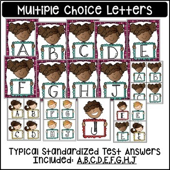 Multiple Choice RESPONSE CARDS ~Kids Theme ~ Great for Test-Prep