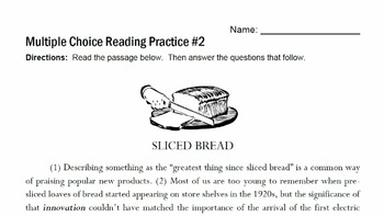 Multiple Choice Reading Practice Set #1
