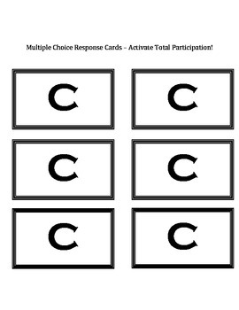 Multiple Choice Response Cards (A-E) - Activate Total Participation