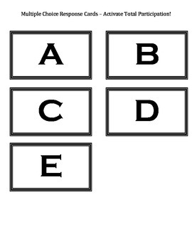 Multiple Choice Response Cards (A-E) - Activate Total Part