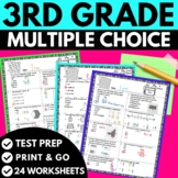 3rd Grade Math Review   Multiple Choice Worksheets   Test Prep