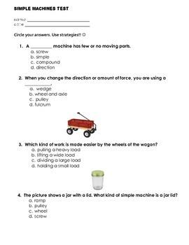 Multiple Choice Simple Machines Test
