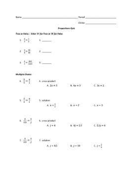 Multiple-Choice Solving Proportions Quiz -- Student Responder Ready