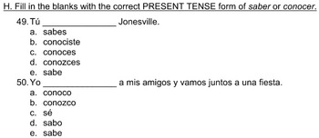 Multiple Choice Spanish 2B Exam from Paso a Paso 2
