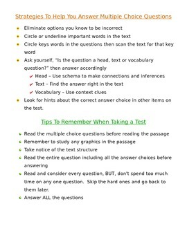 Multiple Choice Strategies for Elementary Test Takers