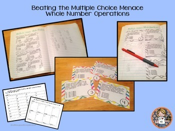 Multiple Choice Task Cards Whole Number Operations