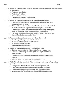 Multiple Choice Test - CHINA AND THE WORLD: EAST ASIAN CONNECTIONS, 500–1300