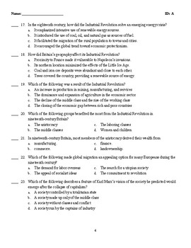 Multiple Choice Test -  REVOLUTIONS OF INDUSTRIALIZATION, 1750–1914