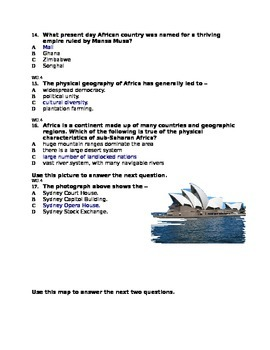 Multiple Choice quiz on Sub Saharan Africa and Australia