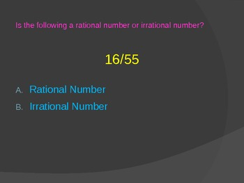 Multiple Choice quiz on rational and irrational numbers Powerpoint Presentation