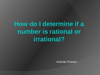 Multiple Choice quiz on rational and irrational numbers Po