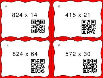 Multiple Digit Multiplication Task Cards with QR Codes