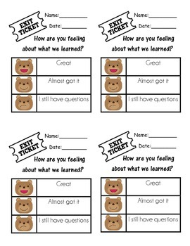 Multiple Exit Ticket Pads
