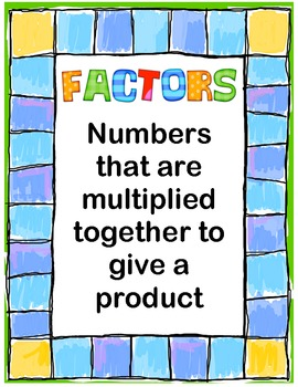 Multiple & Factor Definition Mini-Posters Freebie