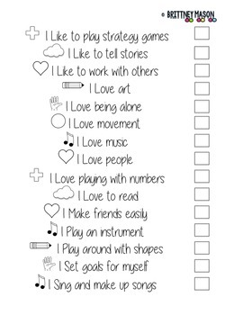 Multiple Intelligence Checklist/Survey