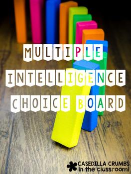 Multiple Intelligence Choice Board Menu for Shapes Kinderg