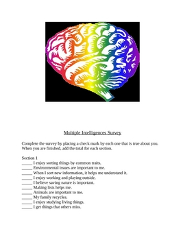 Multiple Intelligence Survey and Display Posters