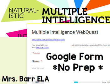 Multiple Intelligence WebQuest *Google Form* No Prep! *Digital*