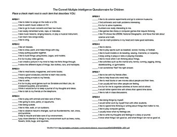 image regarding Printable Multiple Intelligences Test named Many Intelligences Worksheets Schooling Materials TpT