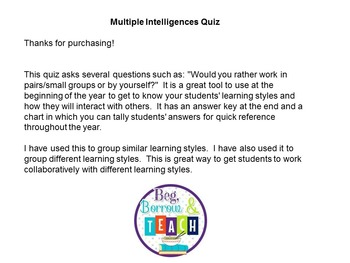 Multiple Intelligences-Learning Styles Quiz by Beg Borrow and Teach