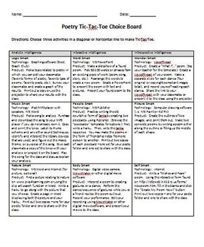 Multiple Intelligences Poetry Tic-Tac-Toe Choice Board