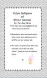 Multiple Intelligences and Bloom's Taxonomy Tic Tac Toe Menu