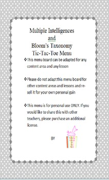 Multiple Intelligences and Bloom's Taxonomy Tic Tac Toe Menu