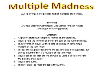 Multiple Madness - A 2-4 Player Game to Practice Identifying Multiples