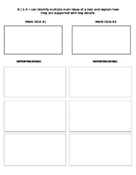 Multiple Main Idea graphic organizer